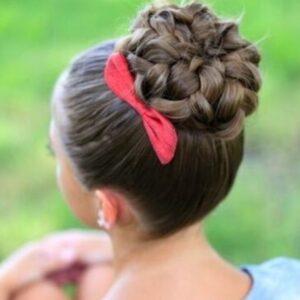 Pan caked bun of braids