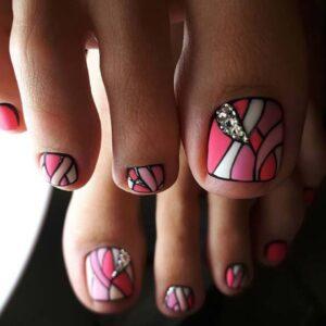 Artistic Pink toe nails