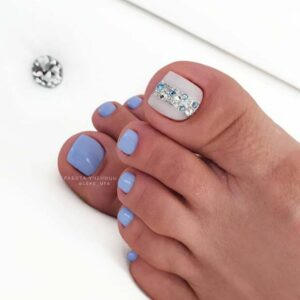 Blue nails with rhinestones