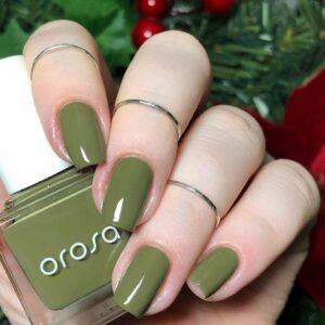 Simple Olive Green Nails