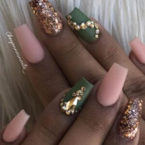Elegant Olive Green Nails
