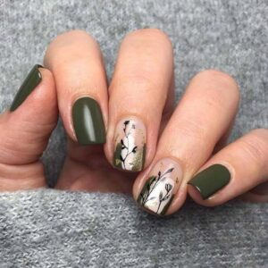 Light Olive Green Nails with Botanical Art