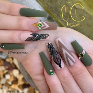 Matte Olive Color for Coffin Nails