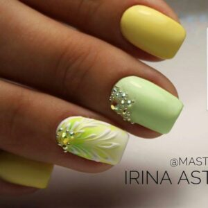 Rhinestones with Botanical Nail Art