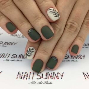 Short Botanical Olive Green Nail Design