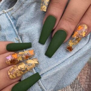 Gold Leaves on Matte Olive Nails