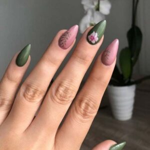 Olive Botanical and Pink Nails