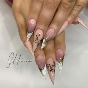 Stiletto nails with artistic design