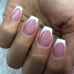 Short nails with white tip