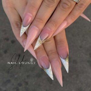 Stiletto nails with white tips