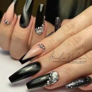 Black Acrylic Nails With Rhinestones