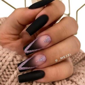 Black Acrylic Nails with Pink Glitter