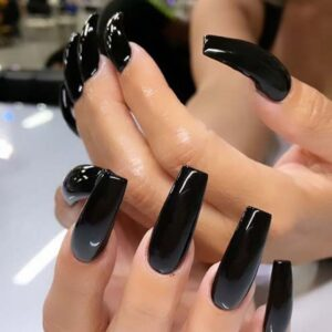 Easy Beautiful Black Acrylic Nails