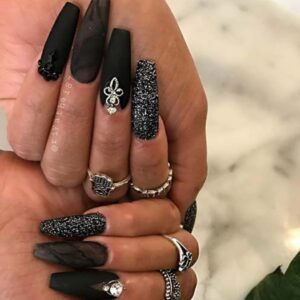 Glam Black Nail Design