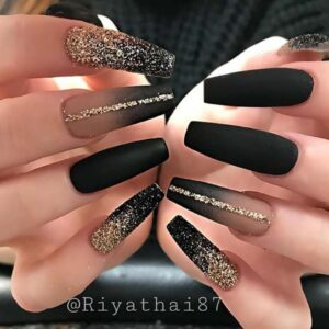Glam Gold and Black Nails