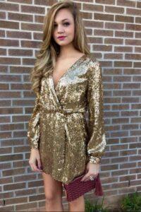 Golden Yellow Wrap Dress
