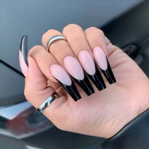 Nude Nails with Black Tips
