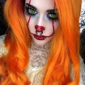 Sparkly Dramatic and Scary Pennywise Makeup