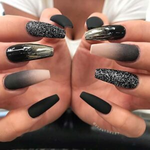 Sparkly and Ombre black Nails