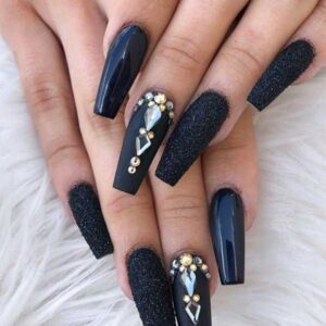 Stylish Black Nails with Rhinestones