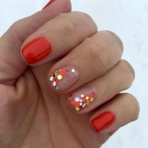 Red with Colorful Dots